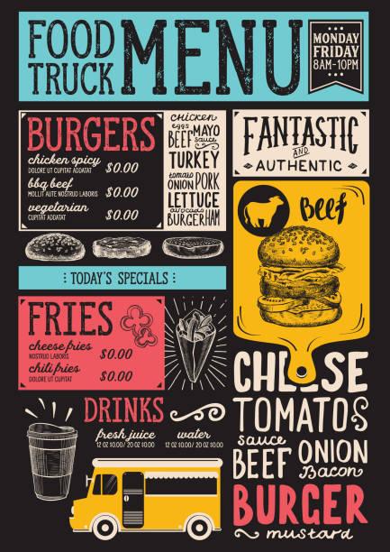 Food truck menu template. vector art illustration