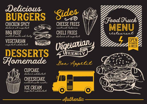 illustrations, cliparts, dessins animés et icônes de modèle de menu de camion de nourriture. - cuisine espagnole