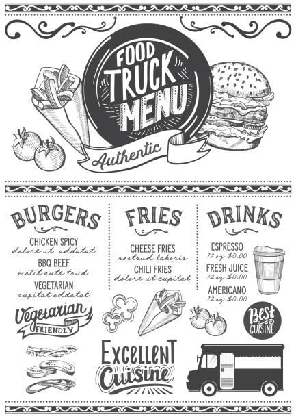Royalty free food truck festival clip art vector images for Food truck menu design