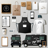 Vector food truck corporate identity template design set. Branding mock up.