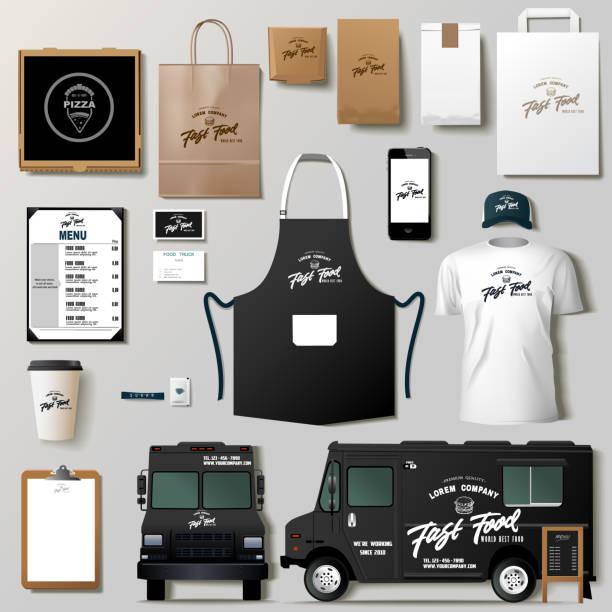 ilustraciones, imágenes clip art, dibujos animados e iconos de stock de maquetas de camiones de comida - plantillas de logotipos