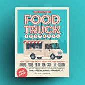 Food truck or street food festival poster or flyer design template. Vector eps 10 illustration.