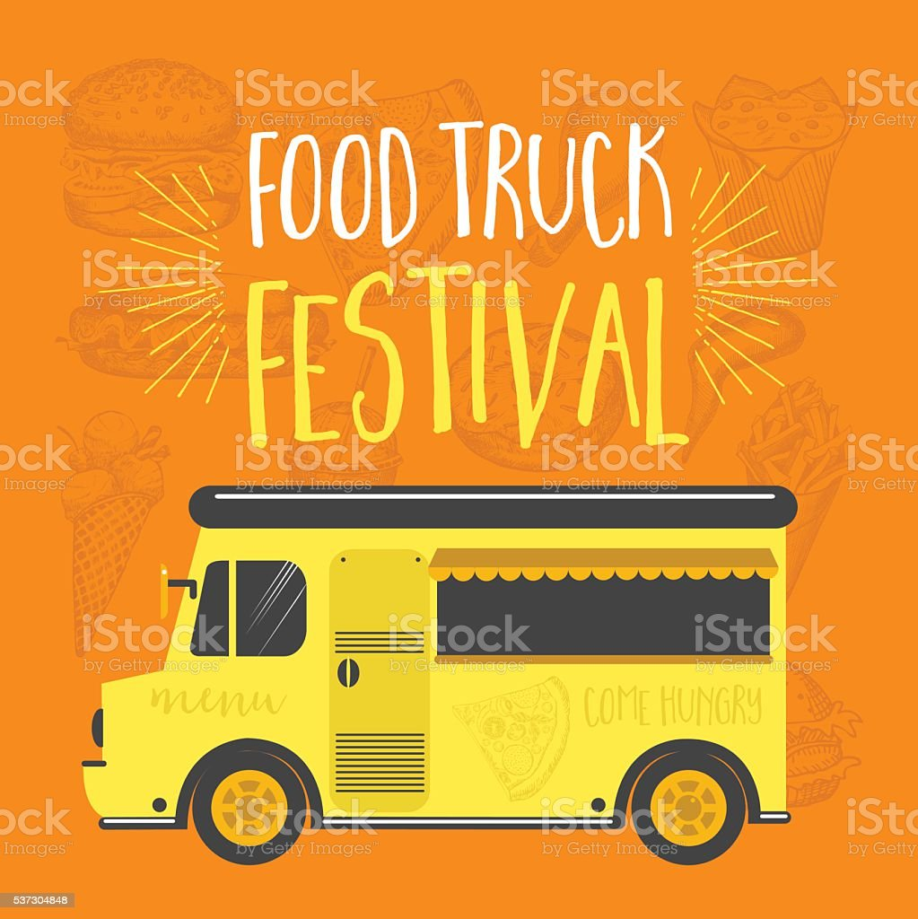 food truck party invitation food menu template design stock vector