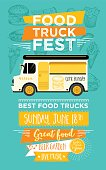 Food truck festival menu food brochure, street food template design.