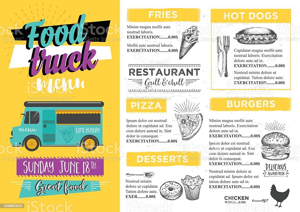Food truck party invitation food menu template design stock vector food truck party invitation food menu template design royalty free stock vector art pronofoot35fo Images