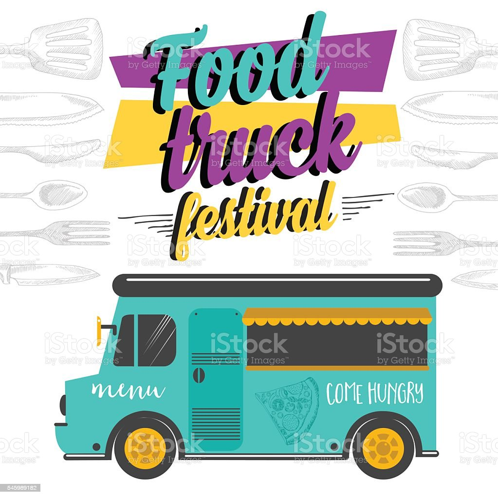 food truck party invitation food menu template design stock vector