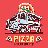 Food truck icontype for Pizza fast delivery service or food festival. Truck van with pizza advertise ads vector icon