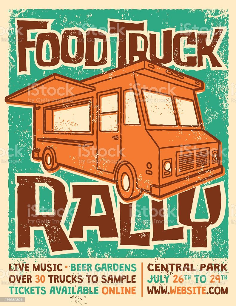 Food Truck Rally Screen Printed Poster Vector Design vector art illustration
