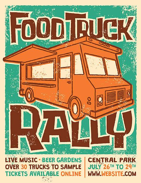 Food Truck Rally Screen Printed Poster Vector Design vector art illustration