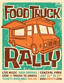 Food Truck Rally Screen Printed Poster Vector Design