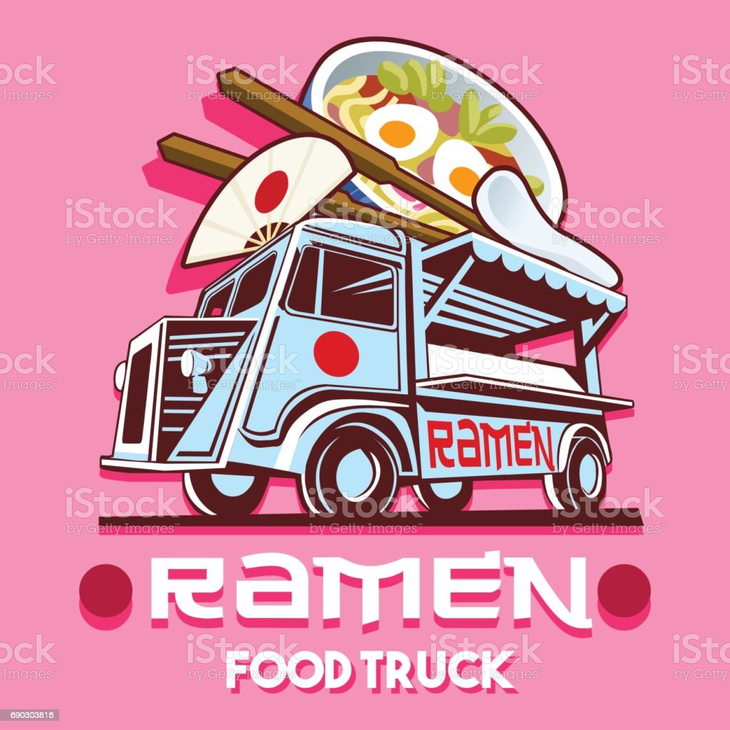Food Truck Ramen Restaurant Fast Delivery Service Vector icon vector art illustration