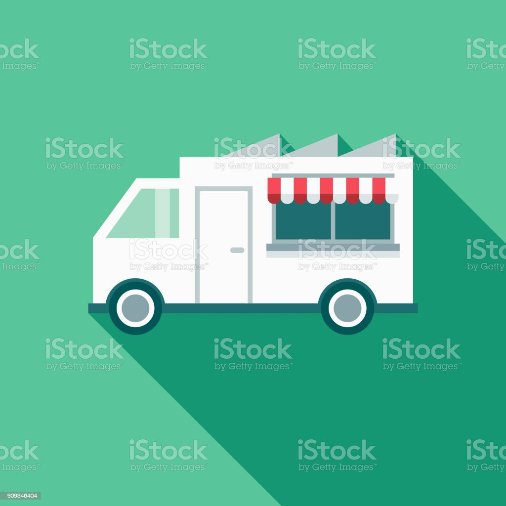 Food Truck Restaurant Flat Design Icon with Side Shadow vector art illustration