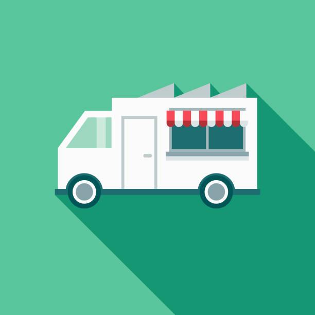 lebensmittel truck restaurant flat design-ikone mit seite schatten - imbisswagen stock-grafiken, -clipart, -cartoons und -symbole