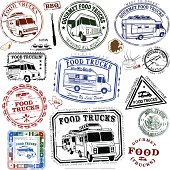 Series of Food Trucks and different food types