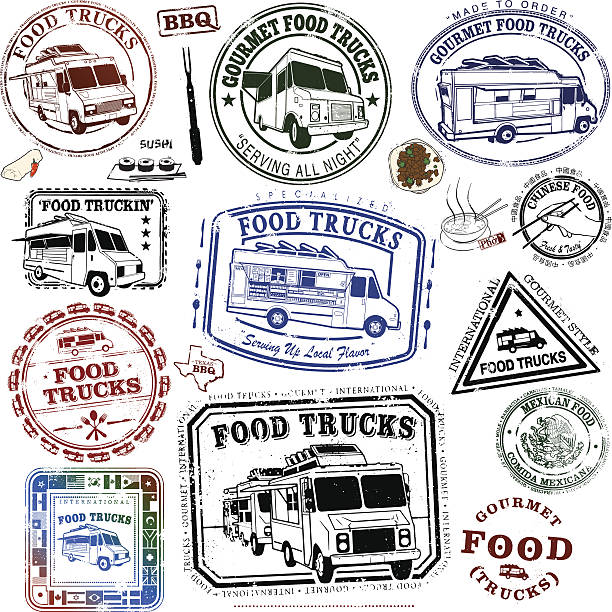 food truck reihe von briefmarken - imbisswagen stock-grafiken, -clipart, -cartoons und -symbole