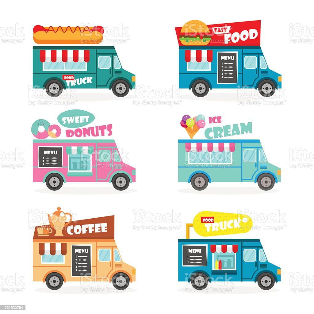 Food truck set vector art illustration