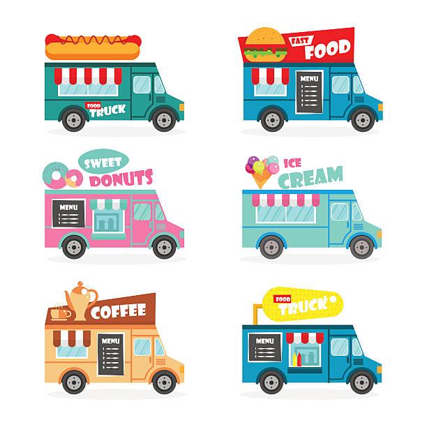 lebensmittel-lkw-reihe - imbisswagen stock-grafiken, -clipart, -cartoons und -symbole