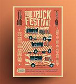 Food Truck Street Food Festival Poster Flyer Template. Vintage styled vector illustration.