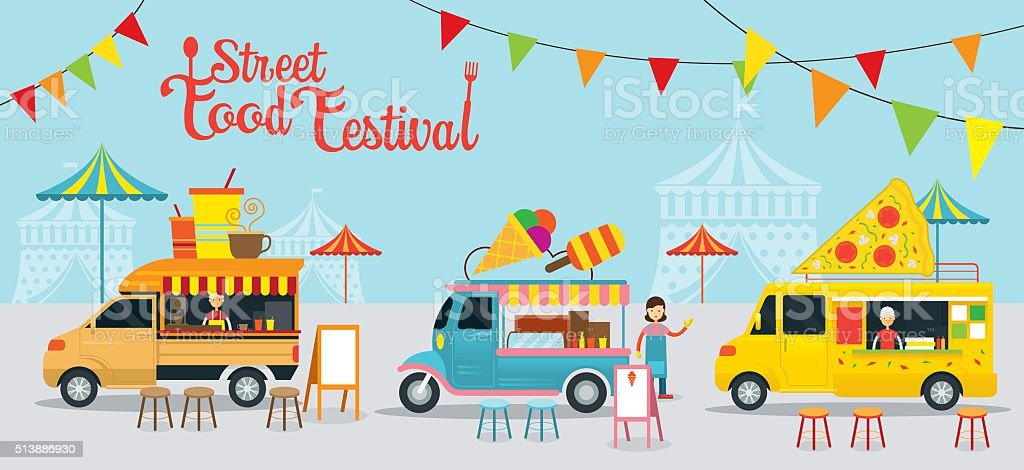 Food Truck, Street Food Festival vector art illustration