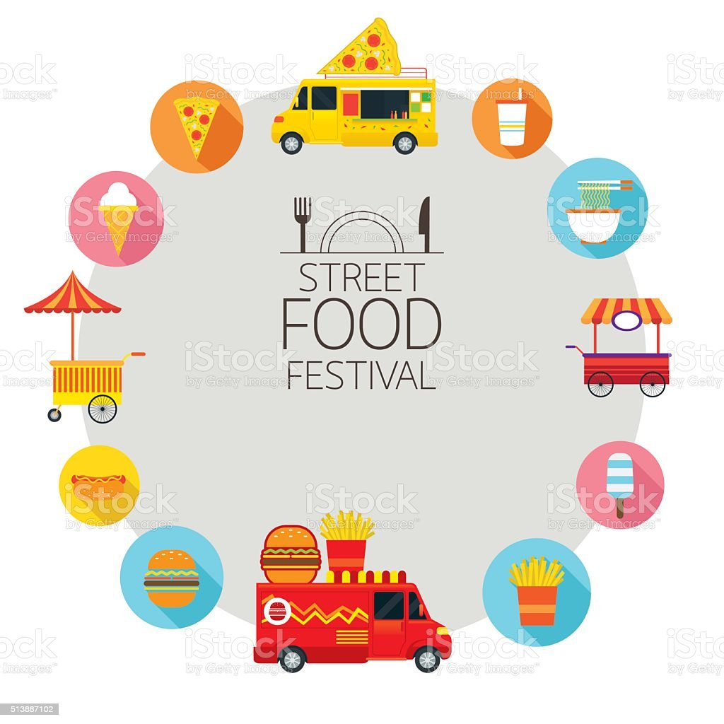 Food Truck, Street Food Icons Frame vector art illustration