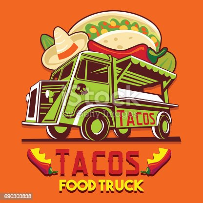 Food truck icontype for taco Mexican meal fast delivery service or summer food festival. Truck van with Mexican food advertise ads vector icon