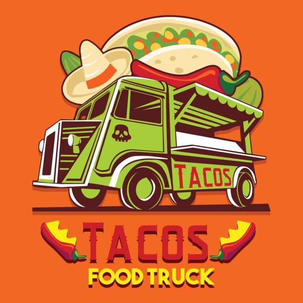 lebensmittel truck taco mexikanische schnell lieferung service vektor icon - mexikanisches essen stock-grafiken, -clipart, -cartoons und -symbole