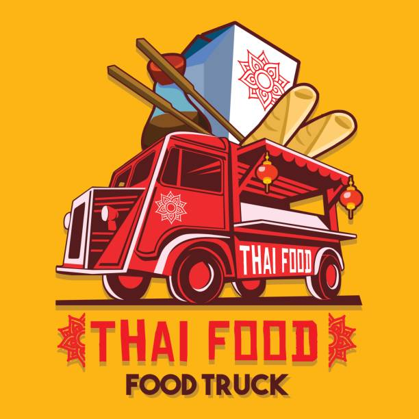 food truck thai food fast delivery service vector icon - thai food stock illustrations, clip art, cartoons, & icons