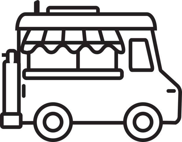 Food truck Transportation themed icon in outline line art style vector art illustration