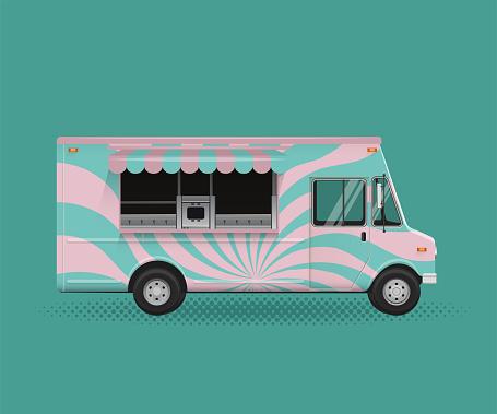 Food Truck Vector Illustration. Poster Flyer Template.