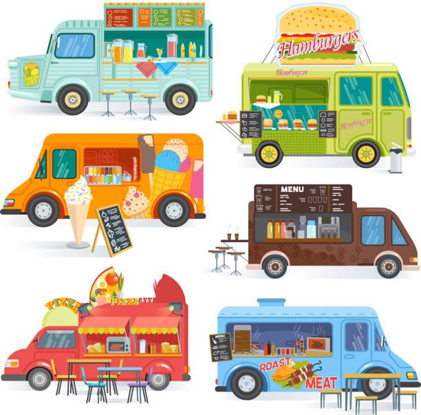 lkw vektor straße imbisswagen fahrzeug- und fastfood lieferung lebensmitteltransport mit würstchen oder pizza abbildung getränke oder eis foodtruck isoliert auf weißem hintergrund - imbisswagen stock-grafiken, -clipart, -cartoons und -symbole