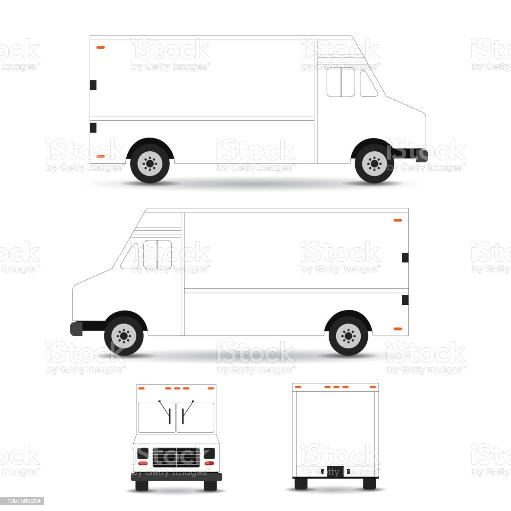 Food Truck Vector Template Outline Stroke Isolated On White