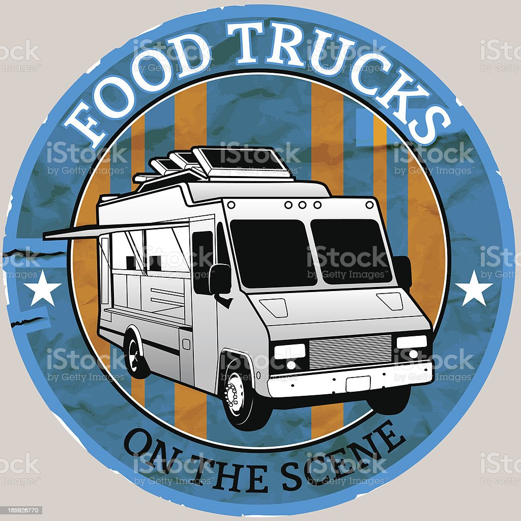 Food Truck Vintage Sticker royalty-free food truck vintage sticker stock vector art & more images of food