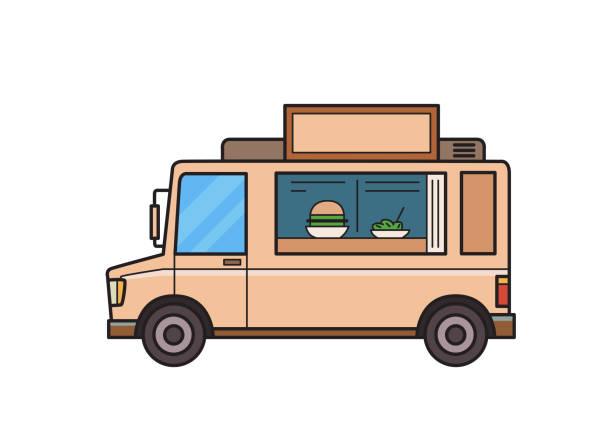 imbisswagen mit burger und salat auf den tresen. isoliert auf weißem hintergrund bild. vektor-illustration. flachen stil. - salatbar stock-grafiken, -clipart, -cartoons und -symbole