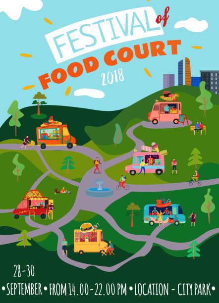 plakat z food truckami - burger and chicken stock illustrations