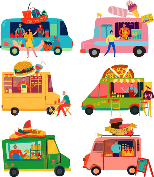 zestaw food trucków - burger and chicken stock illustrations