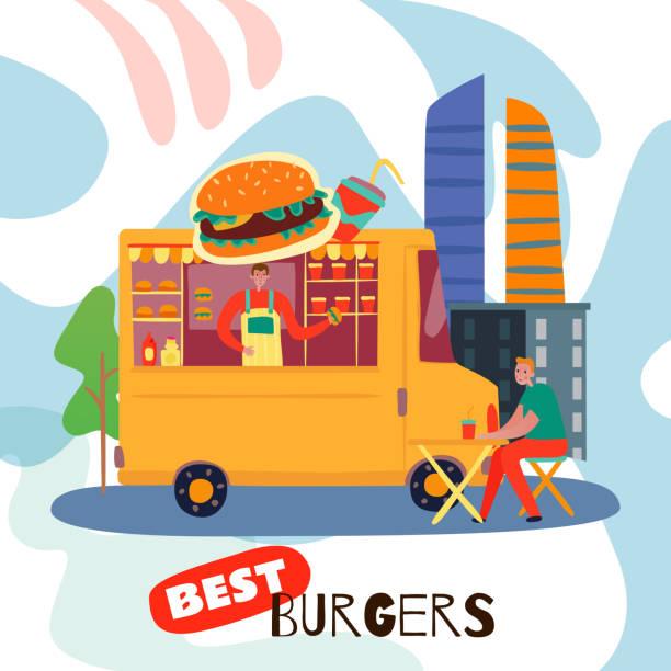 food trucki prosta ilustracja - burger and chicken stock illustrations