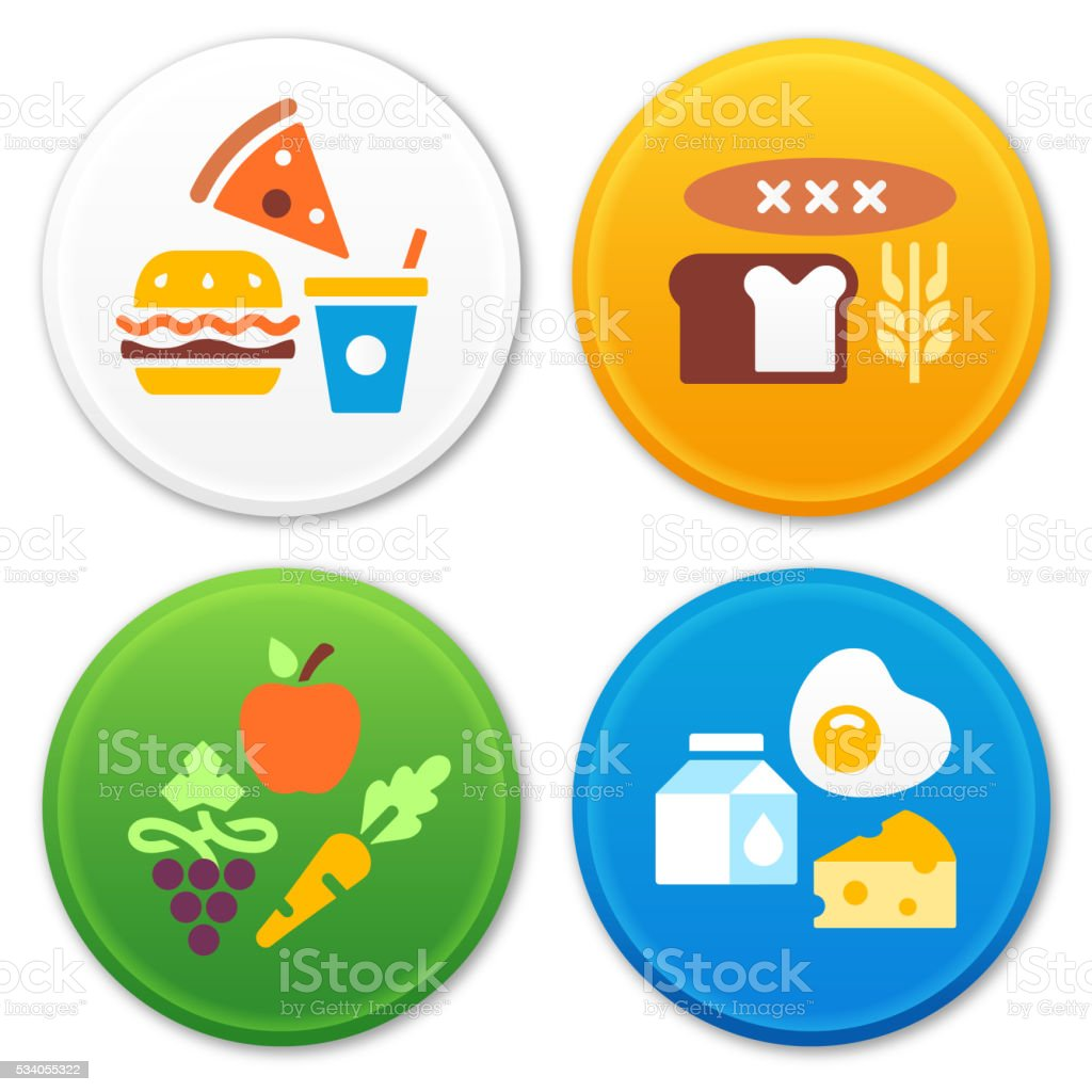 Food Types and Groups Symbols and Icons vector art illustration