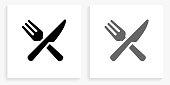 istock Food Utensils Black and White Square Icon 1143091480