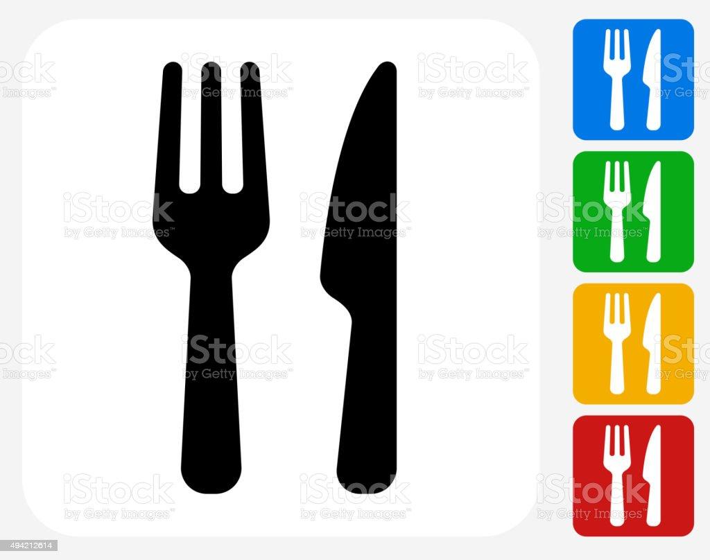 Food Utensils Icon Flat Graphic Design vector art illustration