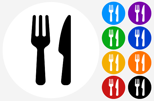 Food Utensils Icon on Flat Color Circle Buttons. This 100% royalty free vector illustration features the main icon pictured in black inside a white circle. The alternative color options in blue, green, yellow, red, purple, indigo, orange and black are on the right of the icon and are arranged in two vertical columns.