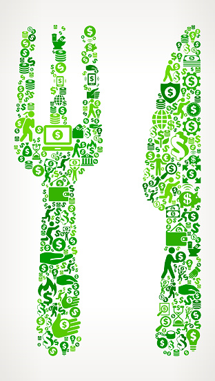 Food Utensils  Money and Finance Green Vector Icon Background