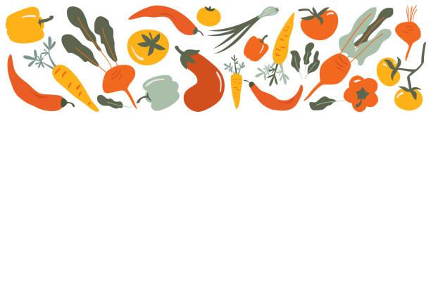 Food  vector border frame of Flat hand drawn vegetables Food  vector border frame of Flat hand drawn vegetables background for Vegan, farm, eco design cooking designs stock illustrations