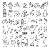 Food Doodles Set. Vector illustration.