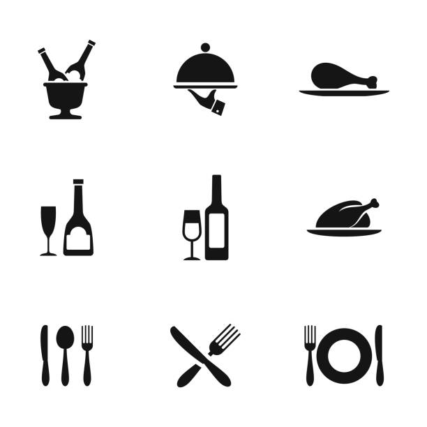 illustrazioni stock, clip art, cartoni animati e icone di tendenza di food vector icons - cena
