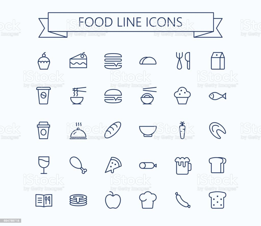 Food vector mini icons set. Thin line outline 24 x 24 Grid.Pixel Perfect vector art illustration