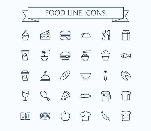 food vector mini icons set. thin line outline 24 x 24 grid.pixel perfect - food and drink stock illustrations, clip art, cartoons, & icons