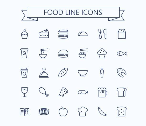 ilustraciones, imágenes clip art, dibujos animados e iconos de stock de alimentos vector mini iconos conjunto. delgada línea contorno perfecto de grid.pixel de 24 x 24 - gastronomía fina