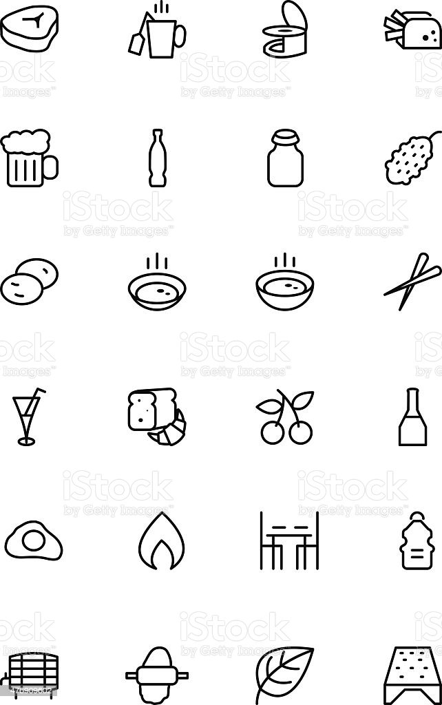 Food Vector Outline Icons 11 vector art illustration