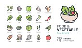 Food & Vegetable vector icons