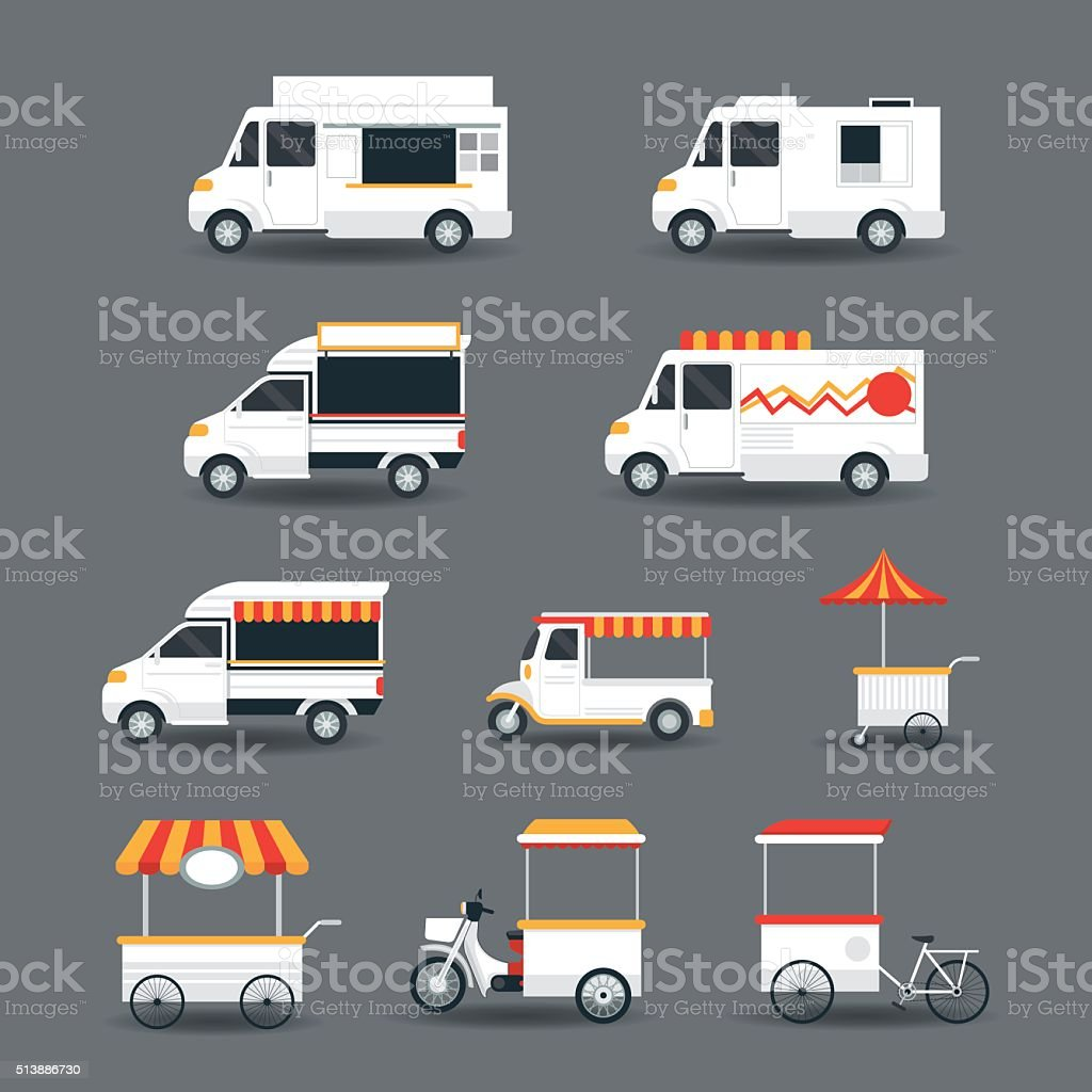 Food Vehicles Truck Van Pushcart White Body Set Stock